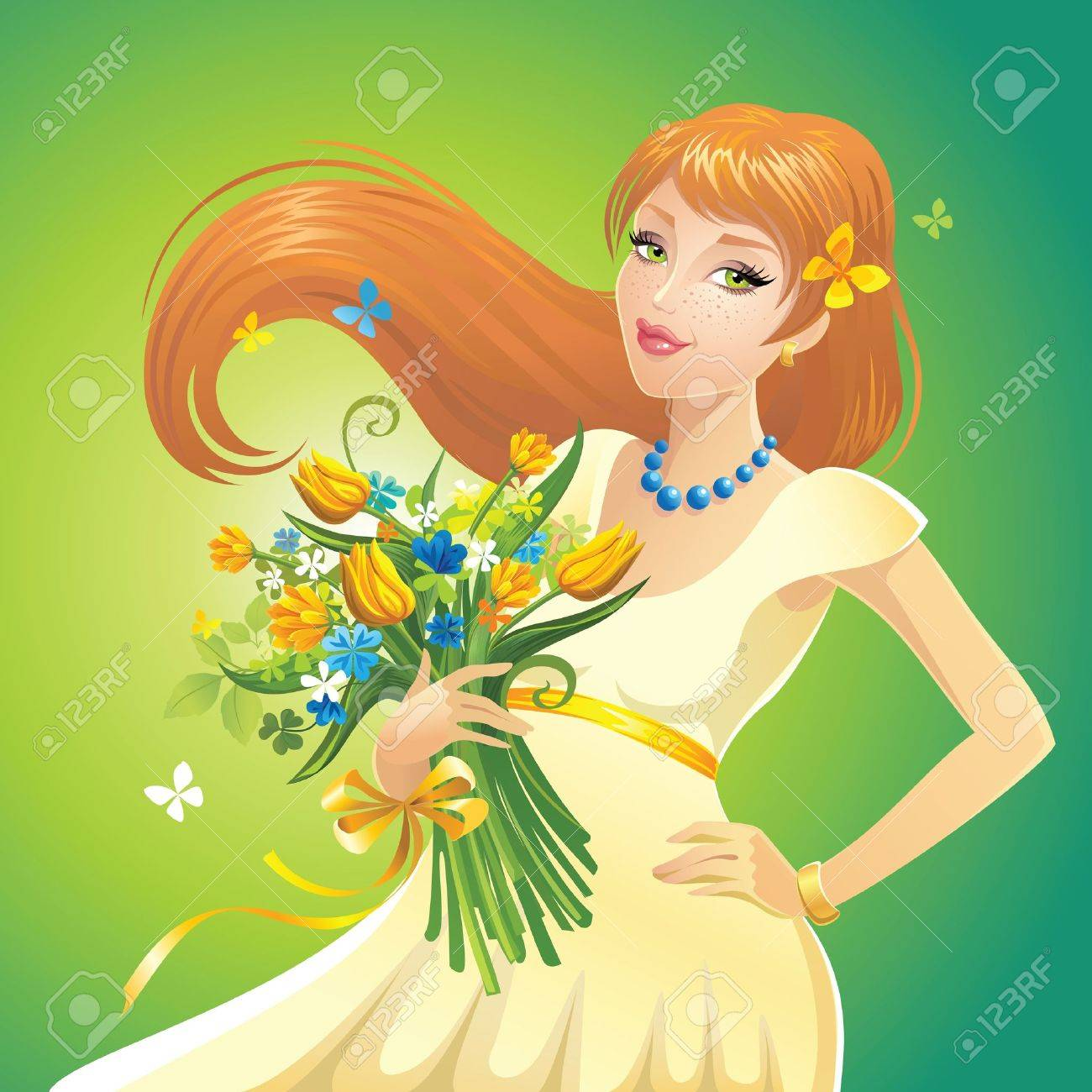 redhead girl with flowers - 15737104