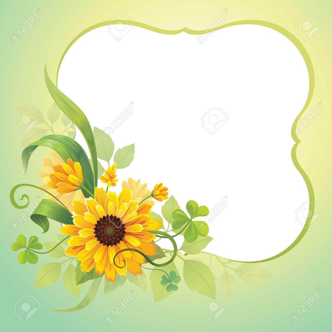 Flower Frame Template Royalty Free Cliparts, Vectors, And Stock ...