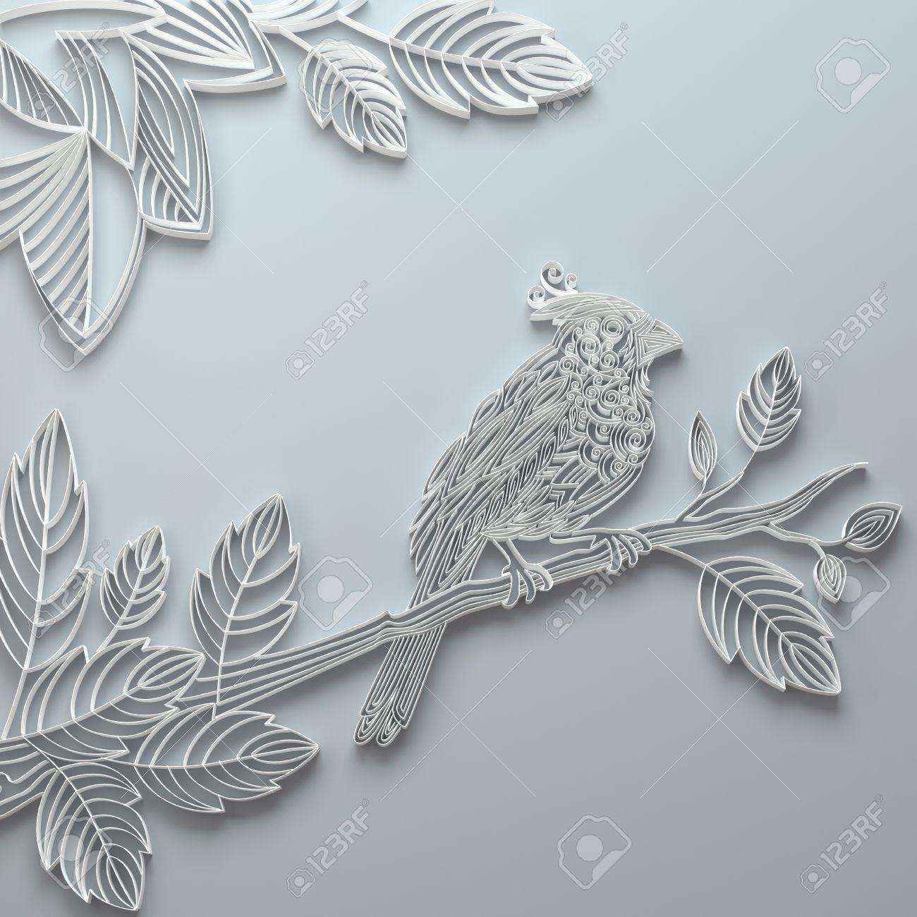 White Decorative Ornate Paper Quilling Bird Background Stock Photo ...