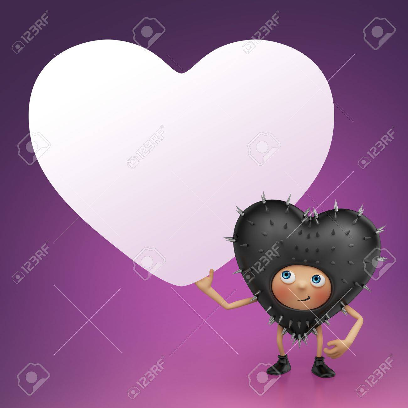 Funny Valentine black heart cartoon holding banner Stock Photo - 16974867
