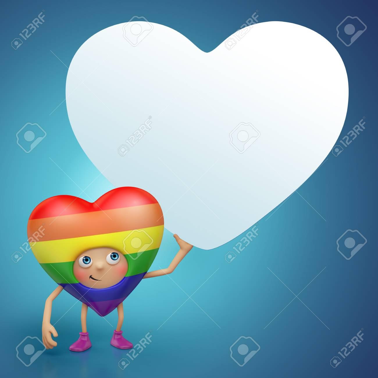 Cute  Valentine heart cartoon holding banner Stock Photo - 16974865
