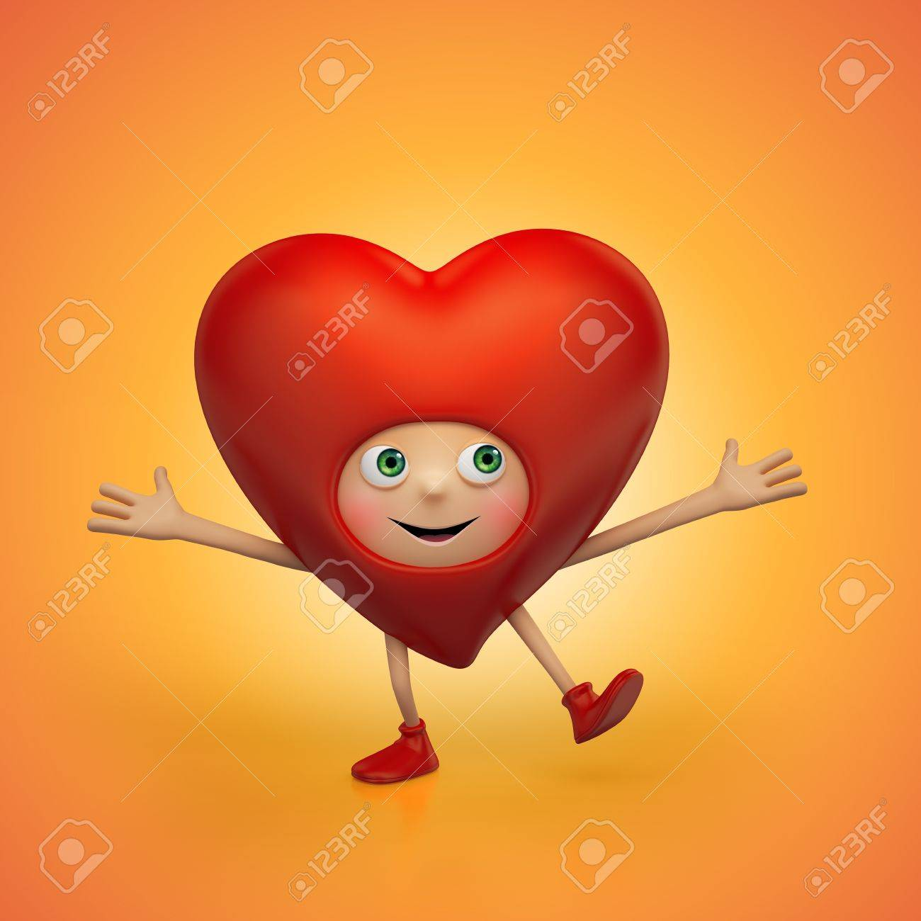 Funny happy red Valentine heart cartoon dancing Stock Photo - 16974869