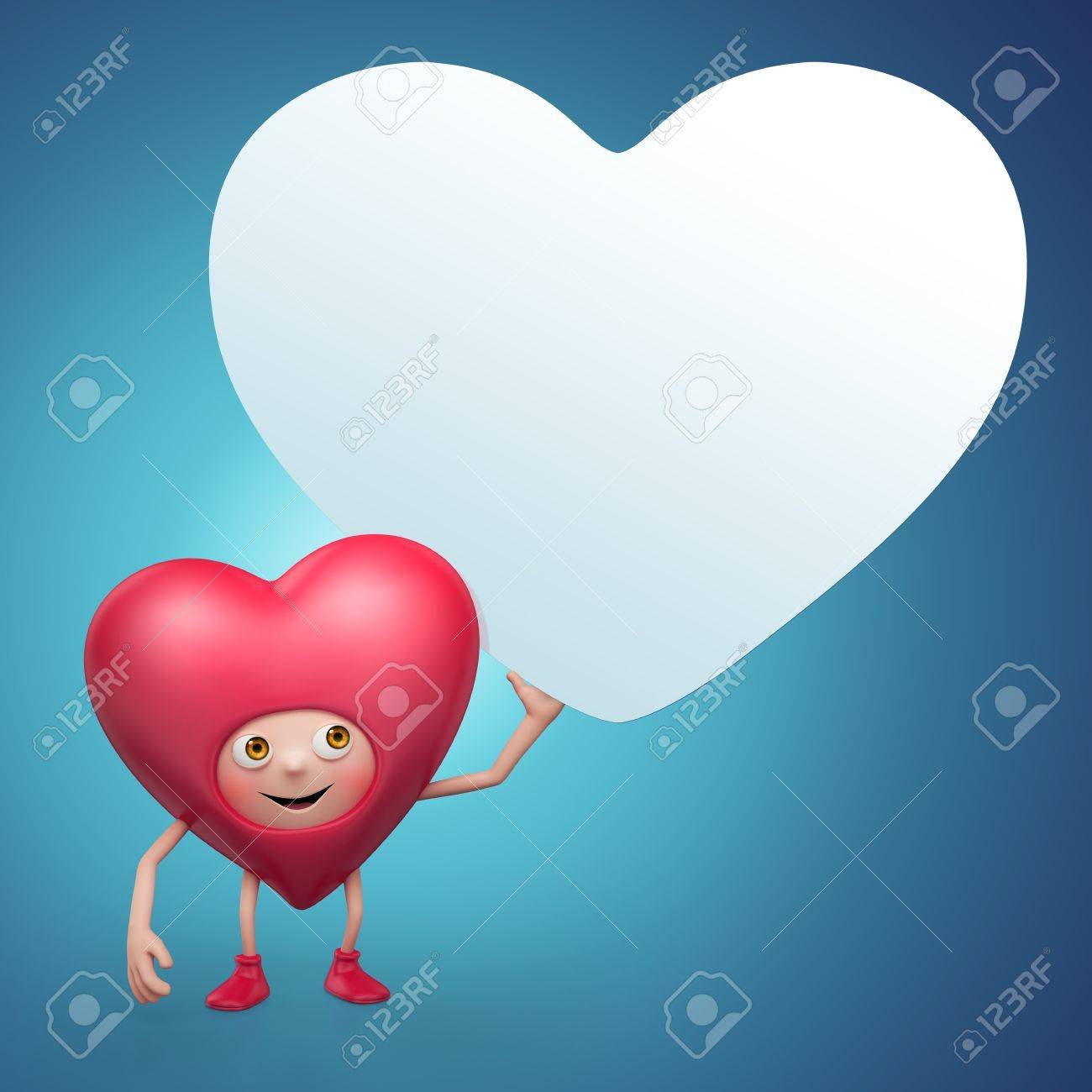 Cute Valentine heart cartoon holding message banner Stock Photo - 16974846