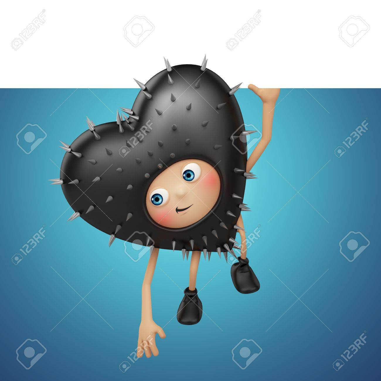 Funny Valentine black heart cartoon holding banner and looking up Stock Photo - 16983872