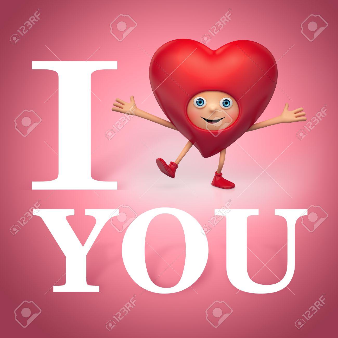 Salutation Valentine Coeur Dessin Animé Je Taime Tu Me Manques
