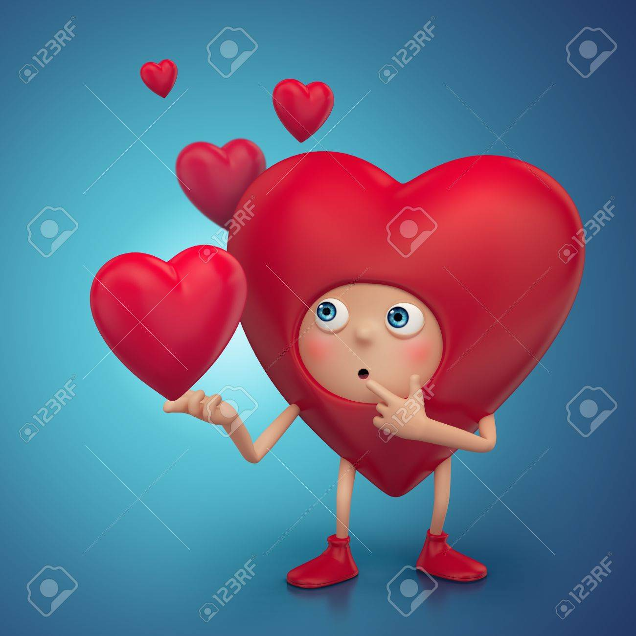 funny curious Valentine cartoon heart character Stock Photo - 17093993