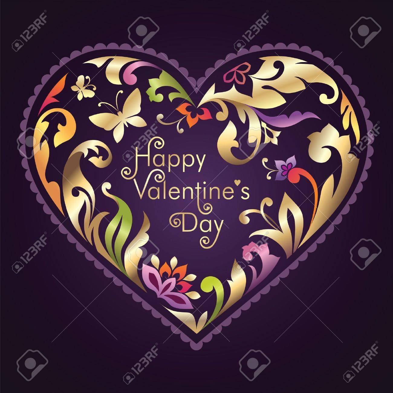 decorated Valentine day greeting text inside floral ornate heart frame Stock Vector - 17659270