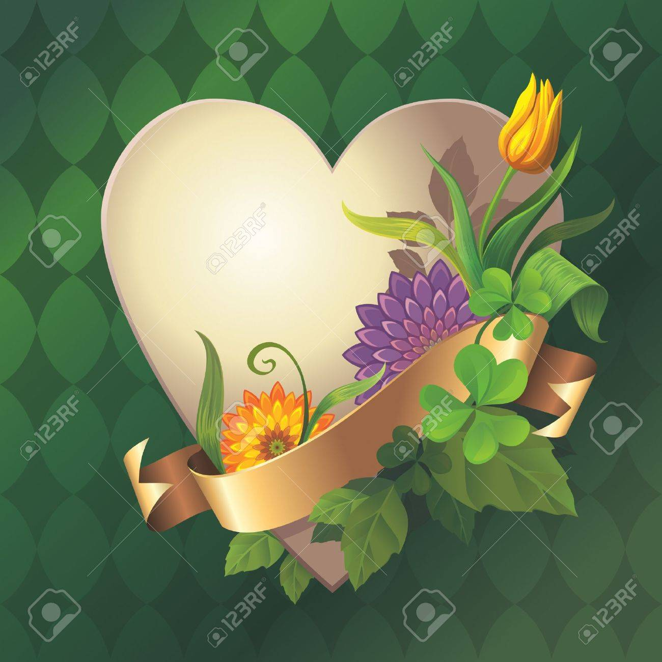 vintage heart banner with gold ribbon tag and flowers Stock Photo - 17659643