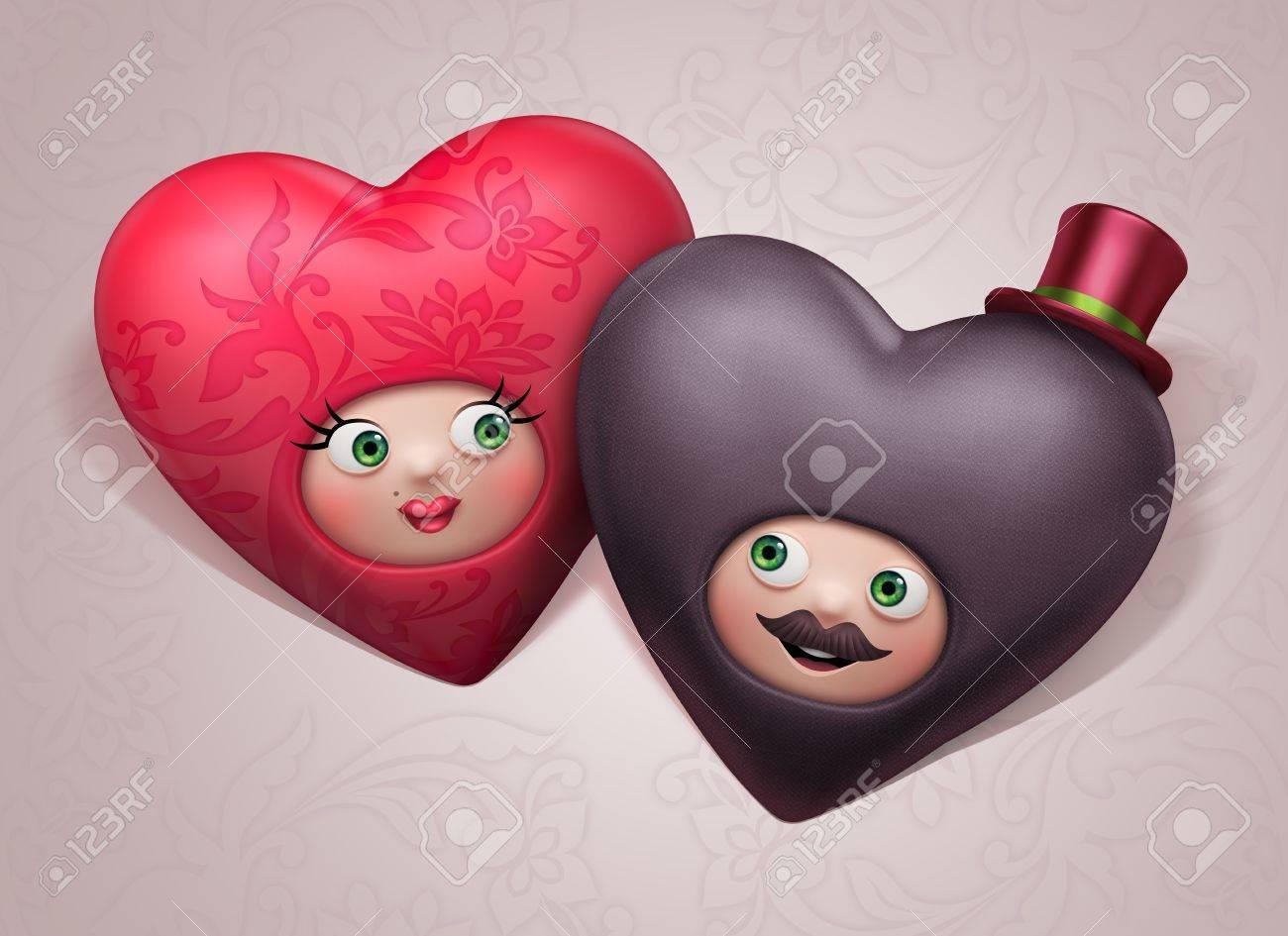Très Drôle Joli Couple C?urs Dans L'amour Valentine S Day Invitation  ZH49