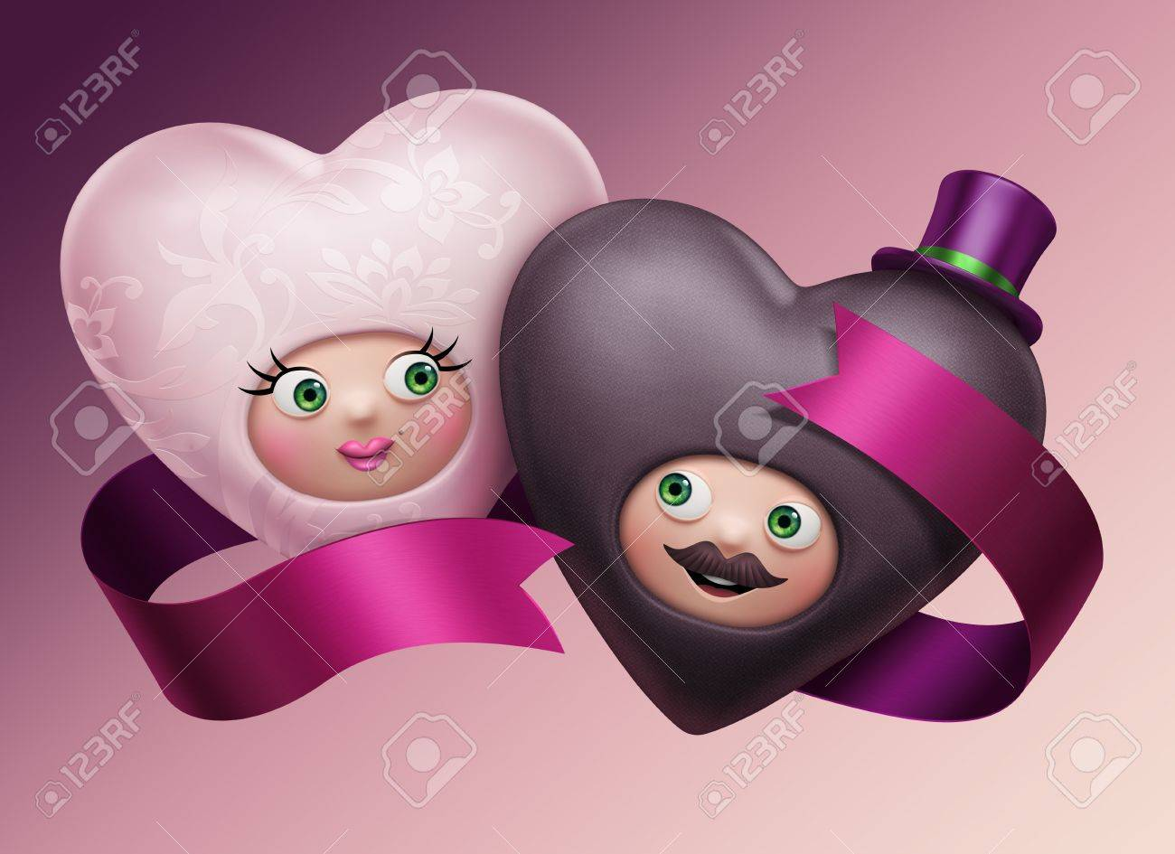 Two funny cute bride and groom hearts  Valentine s Day greeting card  Wedding invitation Stock Photo - 17569445