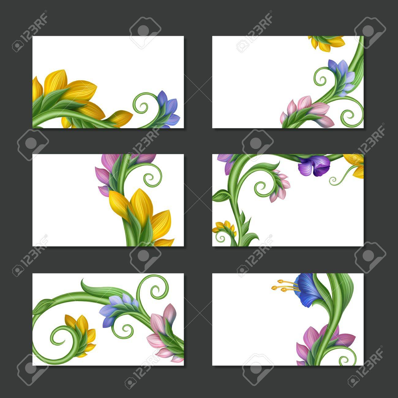 Flower labels and banners business card template collection banco de flower labels and banners business card template collection imagens 19702702 reheart Image collections