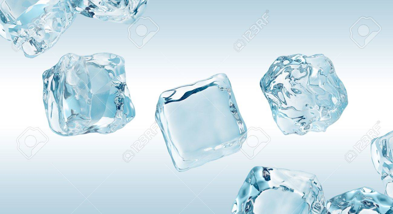 Crystal Clear Ice Cubes Set Frozen Water Elements Stock Photo