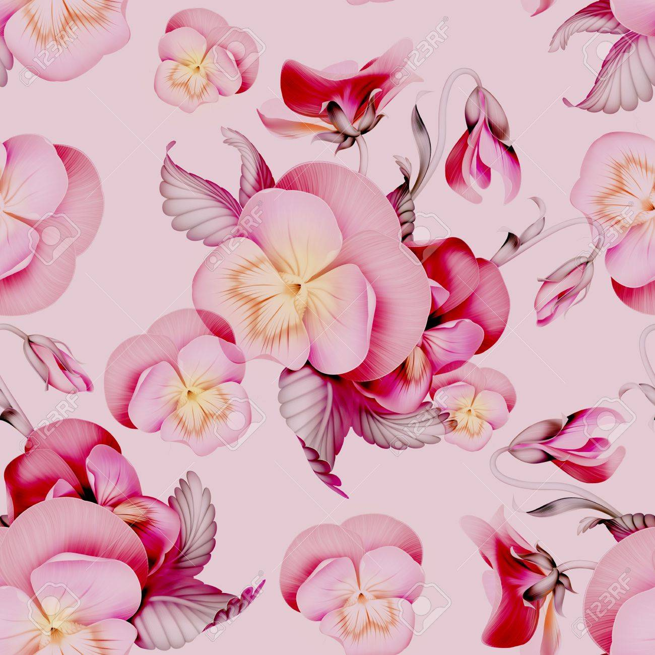 Pink pansy flowers seamless pattern background stock photo picture pink pansy flowers seamless pattern background stock photo 21492424 mightylinksfo