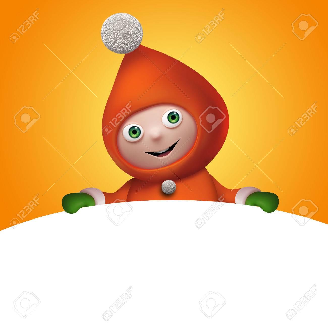 Christmas Elf Cartoon Character Banner Template Clip Art Stock