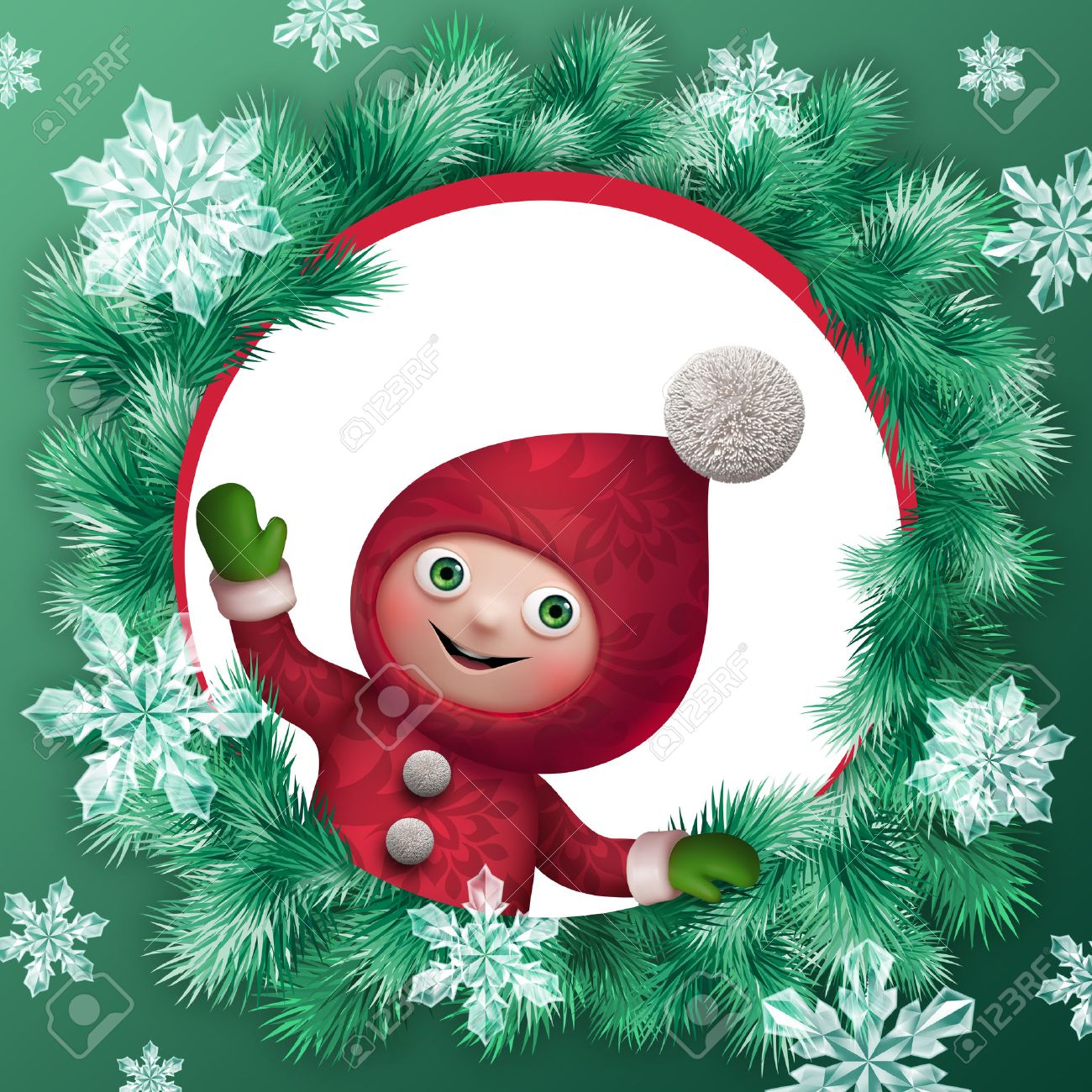 christmas elf cartoon character greeting card clip art Stock Photo - 23981861