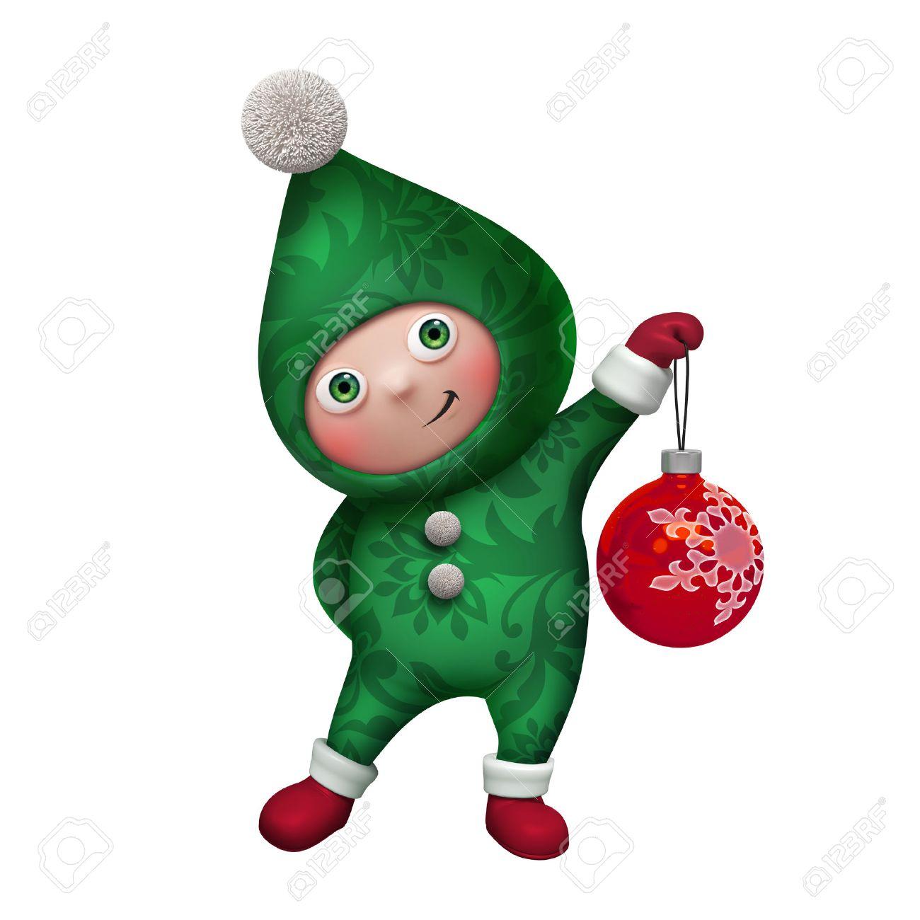 Cute Funny Christmas Elf Cartoon Holding Glass Ball Clip Art Stock ...