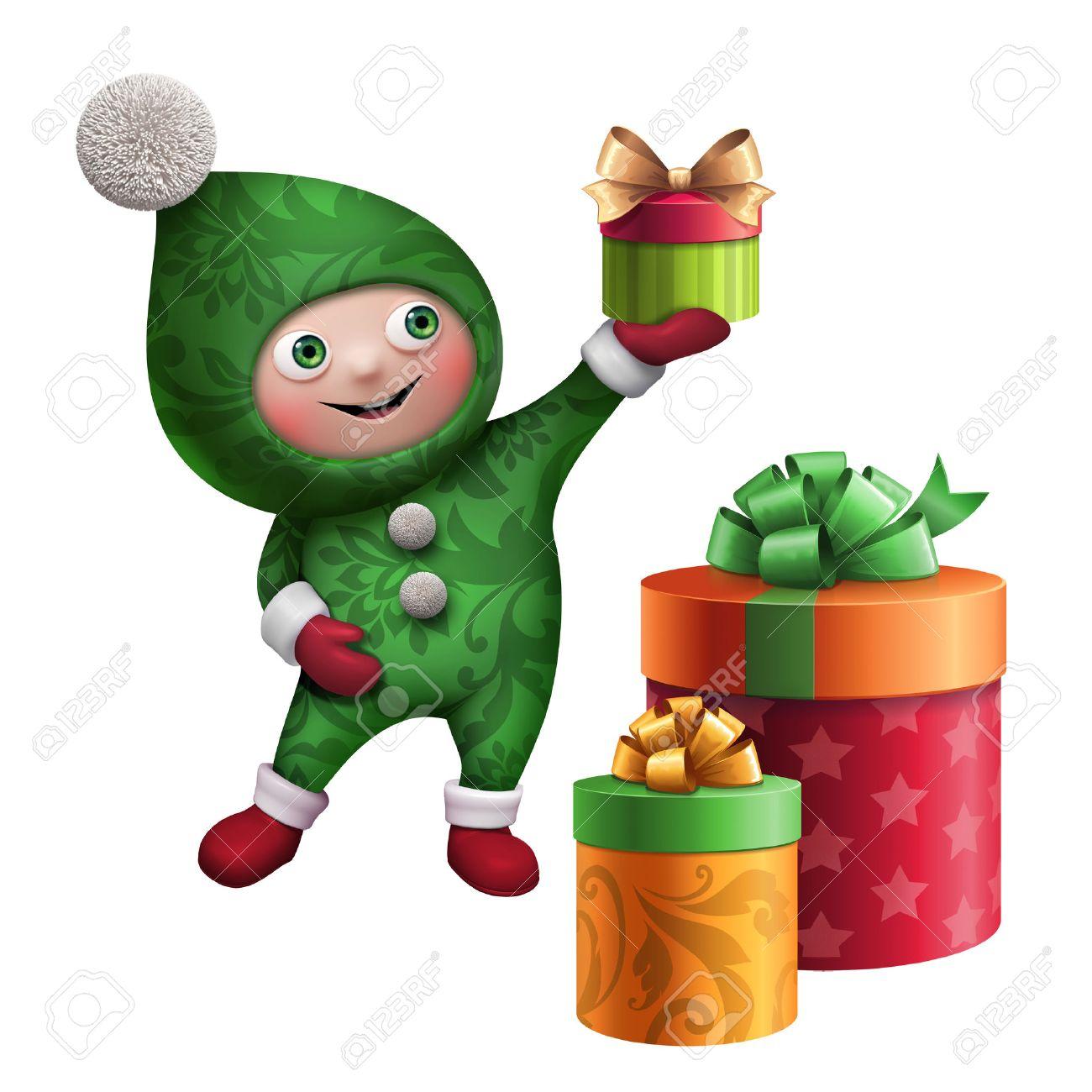 Cute Funny Christmas Elf Cartoon Holding Gift Clip Art Stock Photo ...