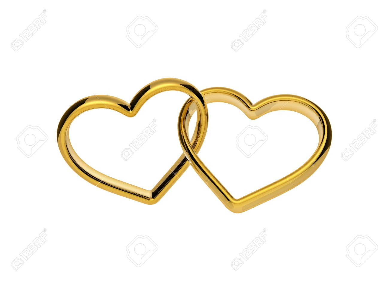 3d Golden Hearts Connected Together Linked Rings Marriage Symbol