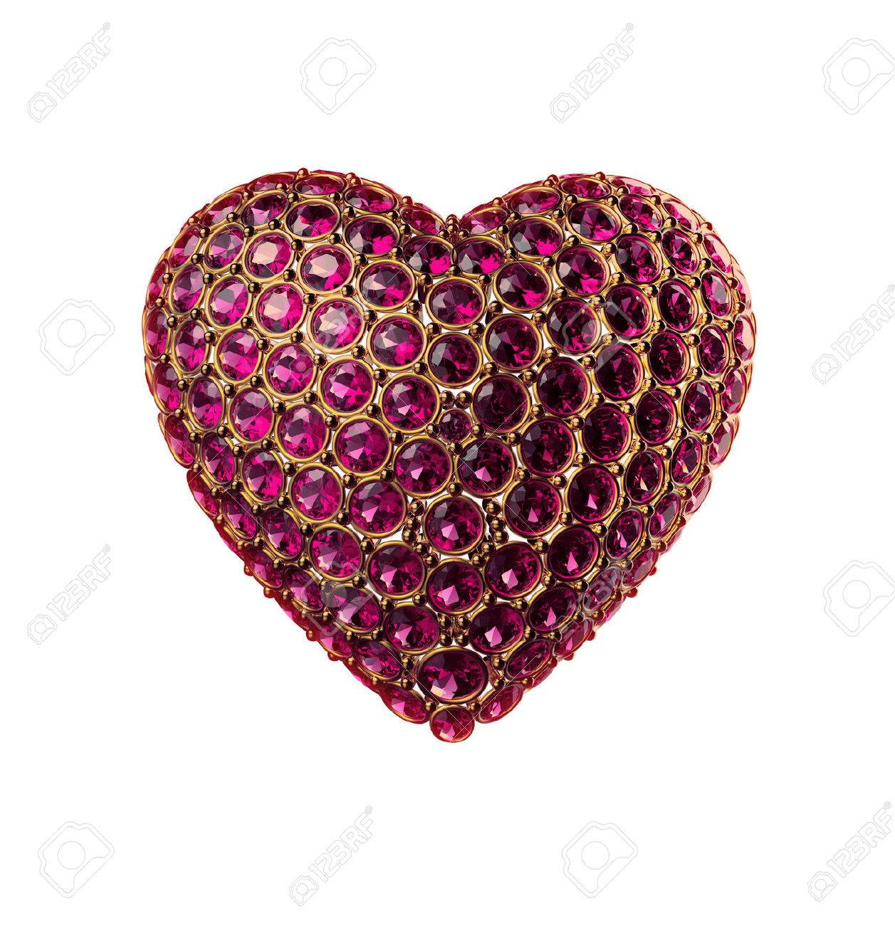 3d crystal heart symbol; Valentines day clip art isolated on white Stock Photo - 26364596