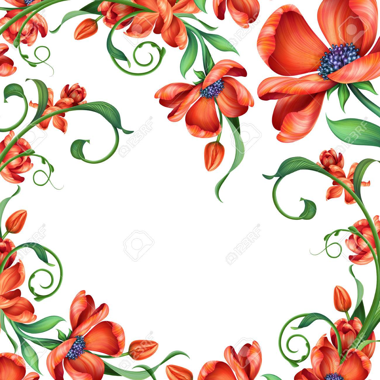 Frame With Abstract Red Blooming Flowers Illustration Add Your Text Stock