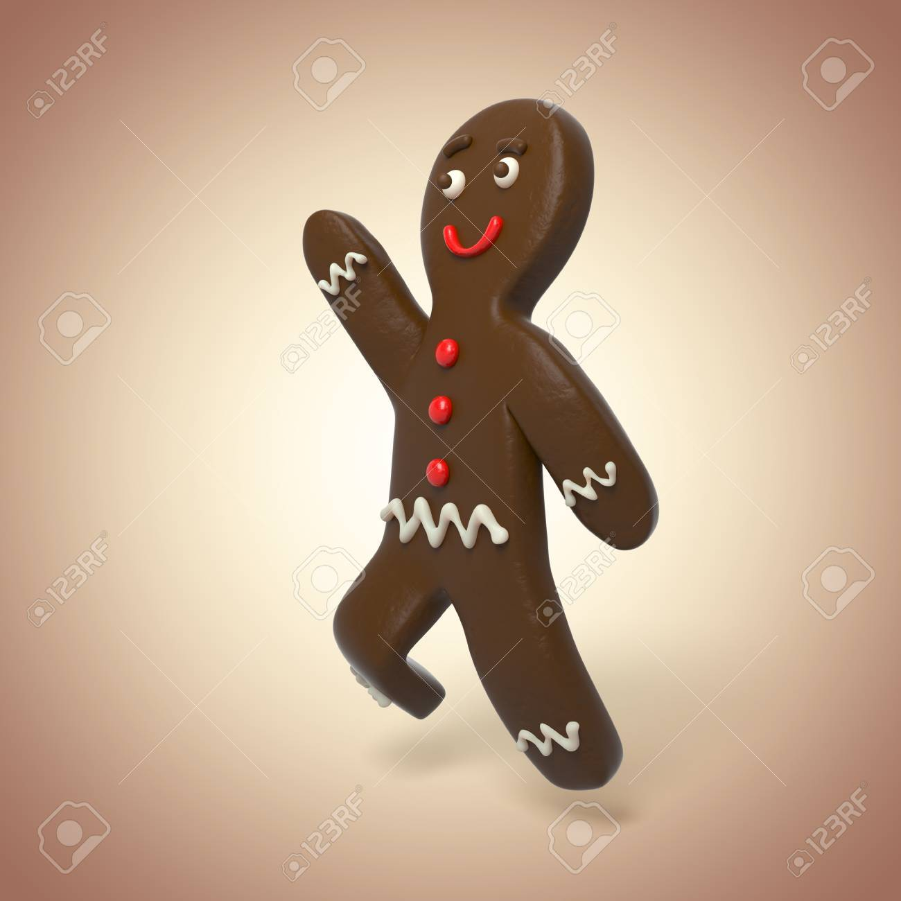 3d Chocolate Gingerbread Man Running Cartoon Character