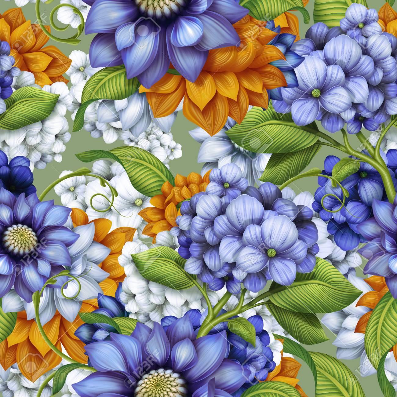 Fiori Autunnali.Immagini Stock Decorativi Floreali Sfondo Senza Soluzione Di