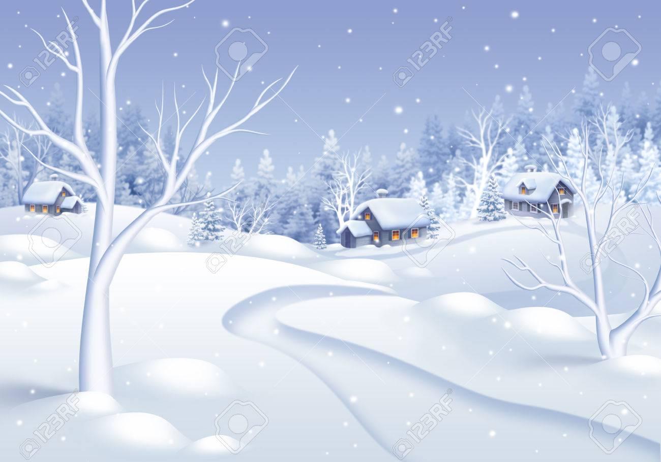 白い冬の村の風景イラスト休日の背景 の写真素材画像素材 Image