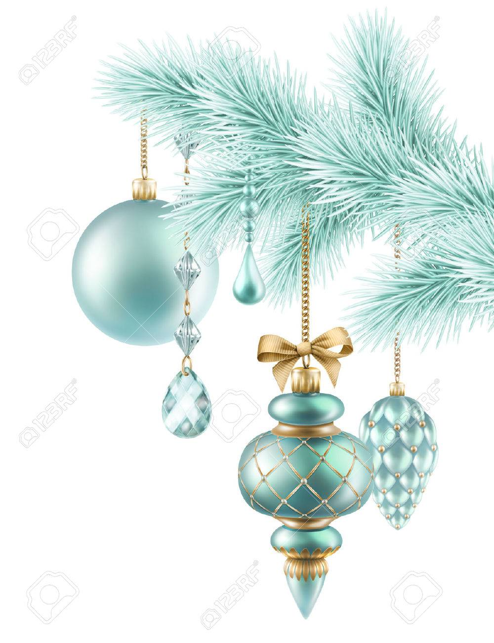 Frozen Twig With Christmas Ornaments Illustration Fir Tree Decorations Stock Photo Picture And Royalty Free Image Image 32750366