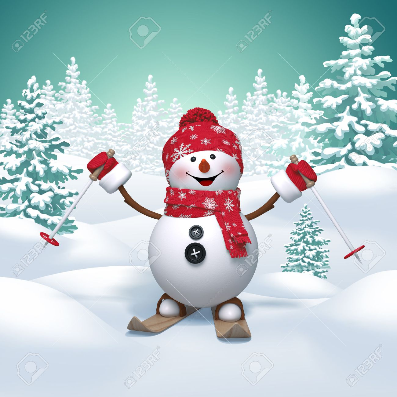 Skiing Snowman 3d Christmas Cartoon Character Winter Landscape Stock Photo Picture And Royalty Free Image Image 32940276