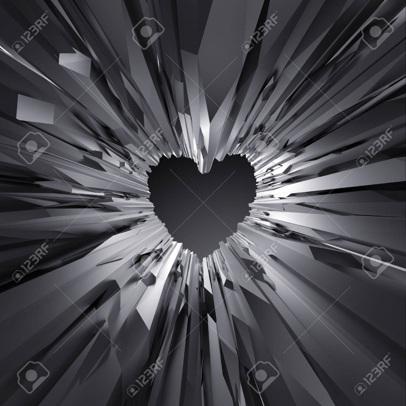 3d Black Crystal Heart Background Abstract Crystallized Wallpaper
