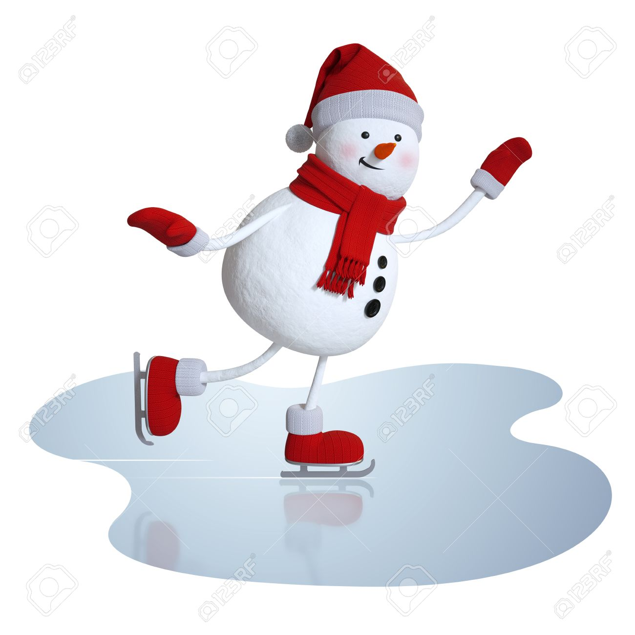3d Snowman Figure Skating, Winter Sports Clipart Stock Photo ...