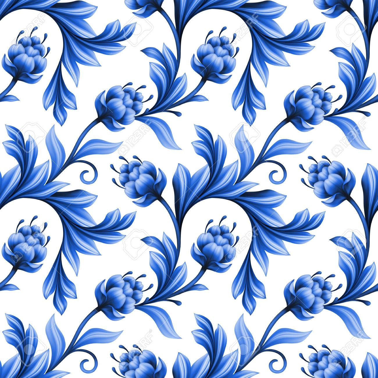 Abstract Floral Seamless Pattern Background With Folk Art Flowers Blue White Gzhel Ornament Stock