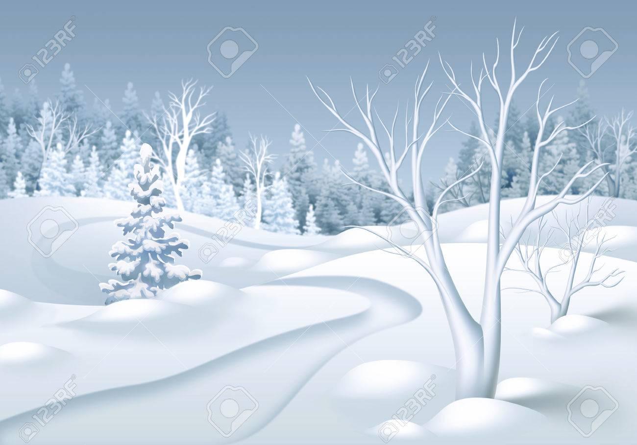 冬の森の風景水平イラスト の写真素材画像素材 Image 48392041