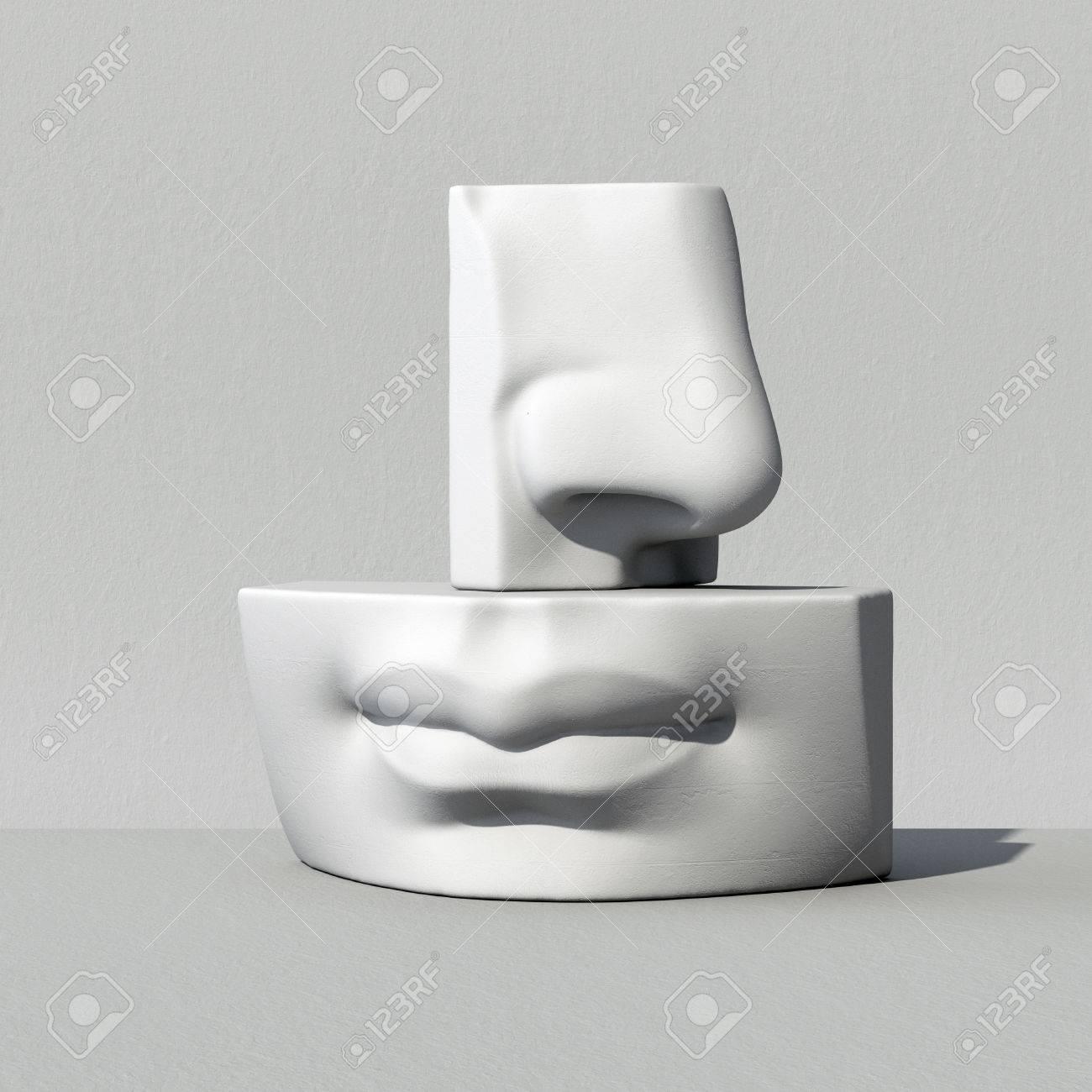 3d, Digitale Illustration, Abstrakte Alabaster Blöcke, Nase, Lippen ...