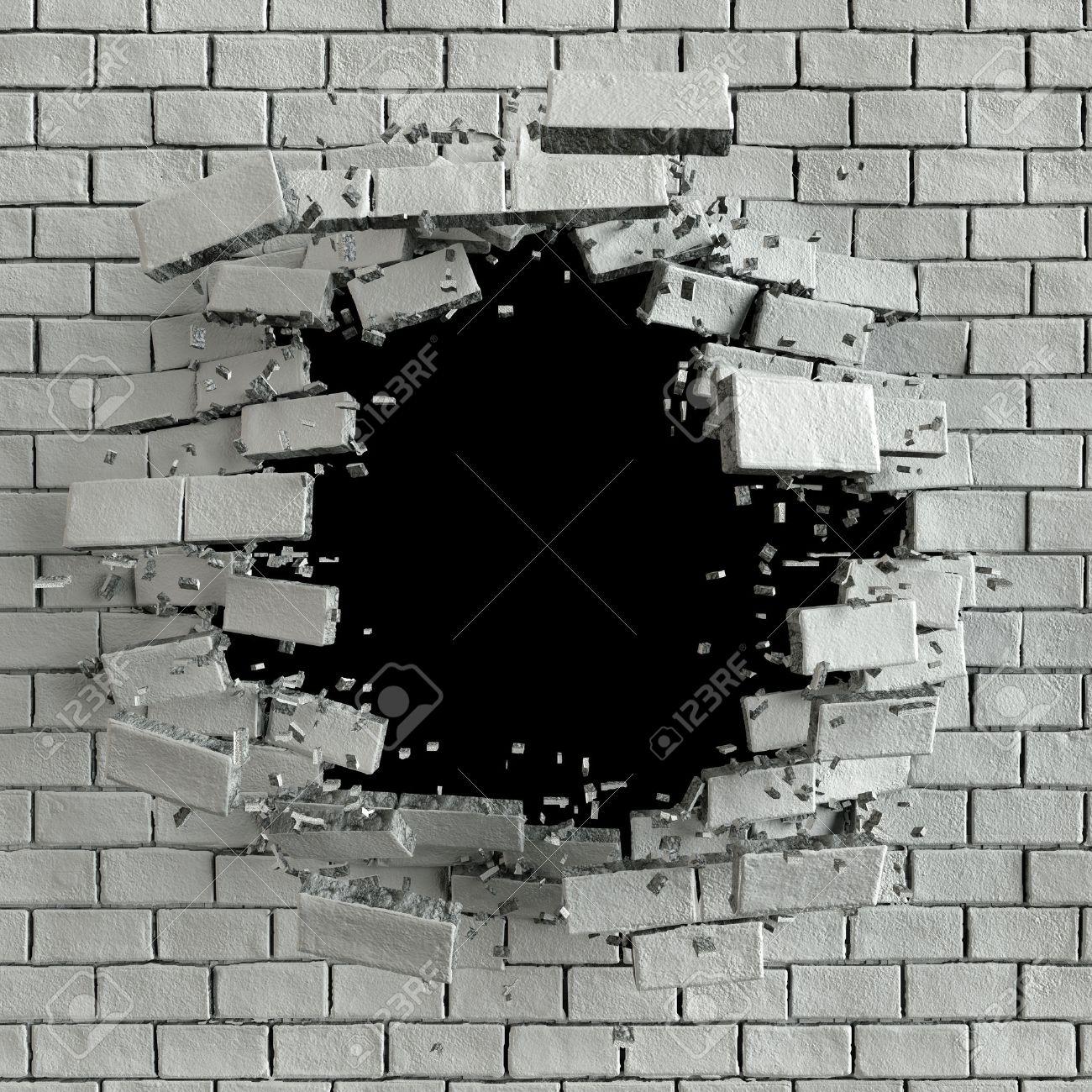 3d render, 3d illustration, explosion, cracked brick wall, bullet hole, destruction, abstract background - 60195066