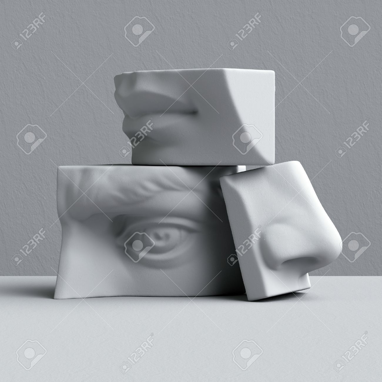 3D-Darstellung, Digitale Illustration, Abstrakte Alabaster Blöcke ...