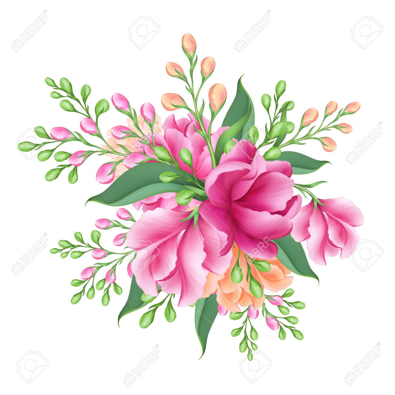 Digital Illustration Bridal Bunch Of Pink Flowers Isolated Stock