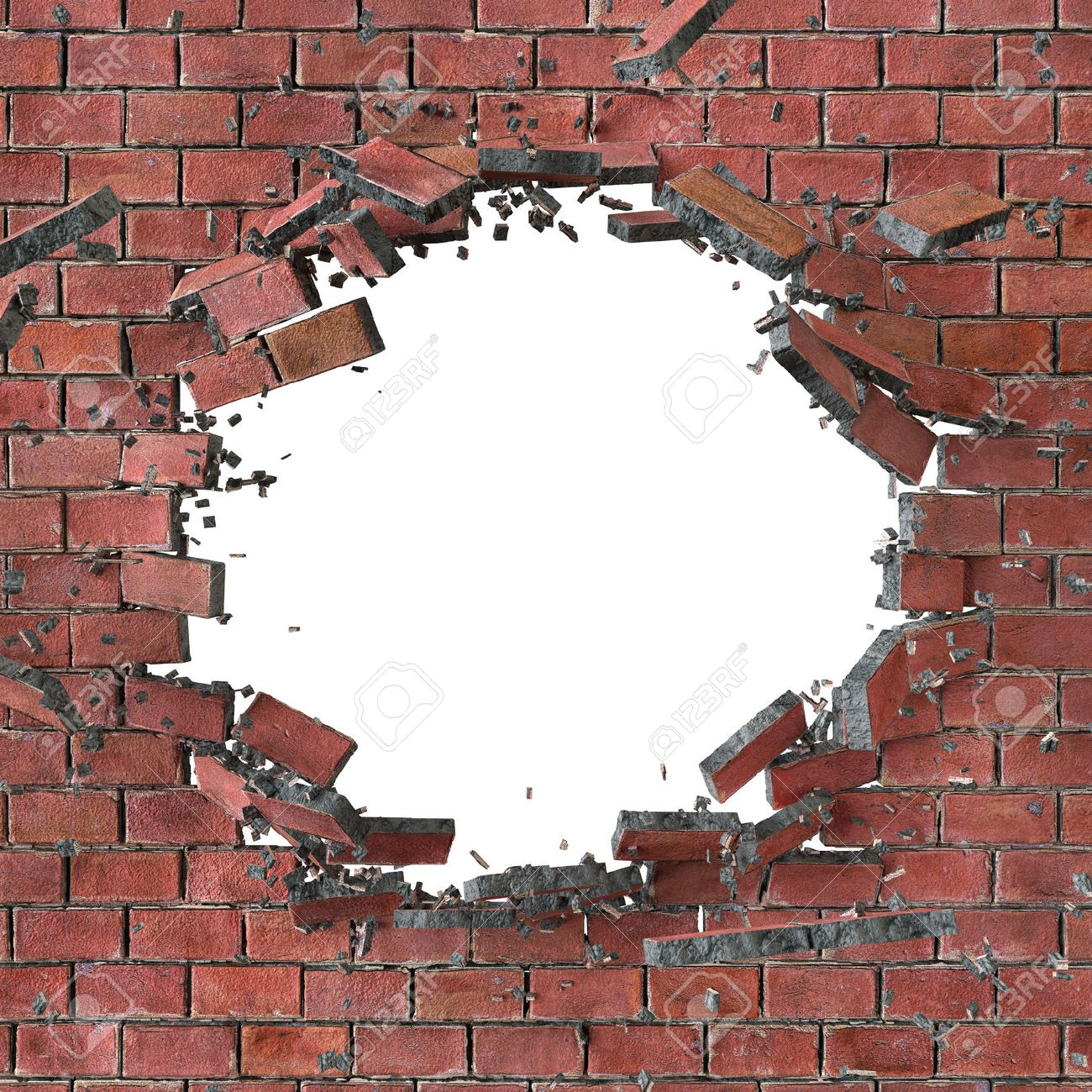 Cracked brick wall drawing brick wall - Broken Wall 3d Render 3d Illustration Explosion Cracked Red Brick Wall
