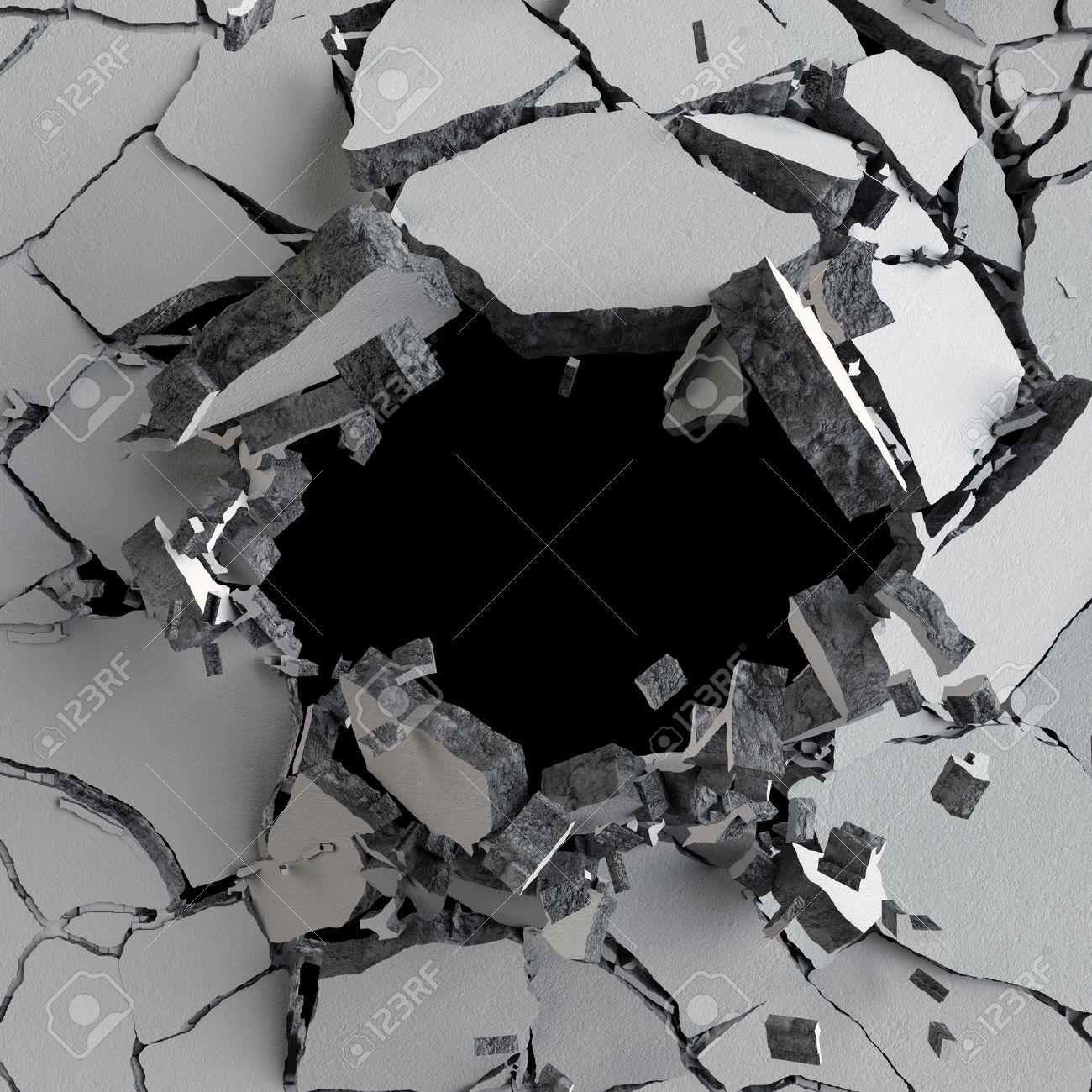 3d render, 3d illustration, explosion, cracked concrete wall, bullet hole, destruction, abstract background - 60195196