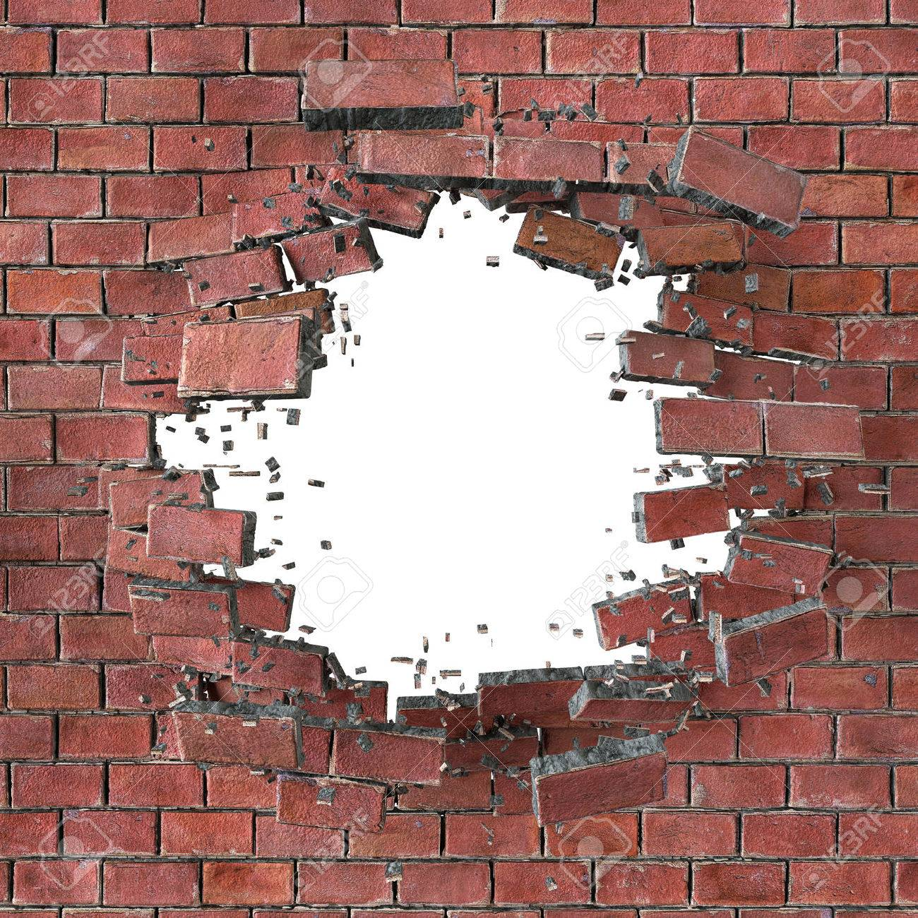 Cracked brick wall drawing brick wall - Broken Wall 3d Render Illustration Explosion Cracked Red Brick Wall Bullet