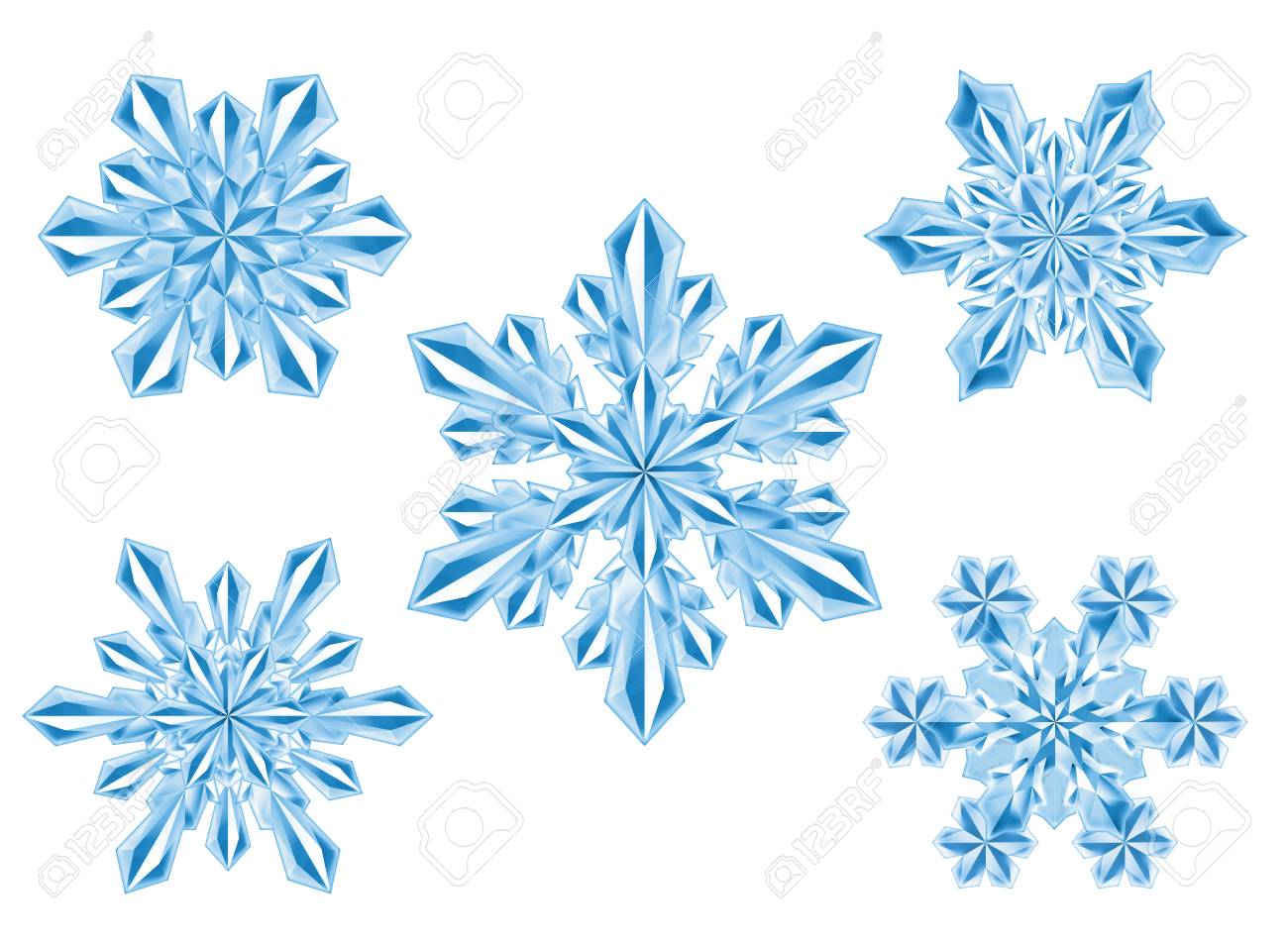 crystal snowflake set new year christmas winter clip art isolated on white