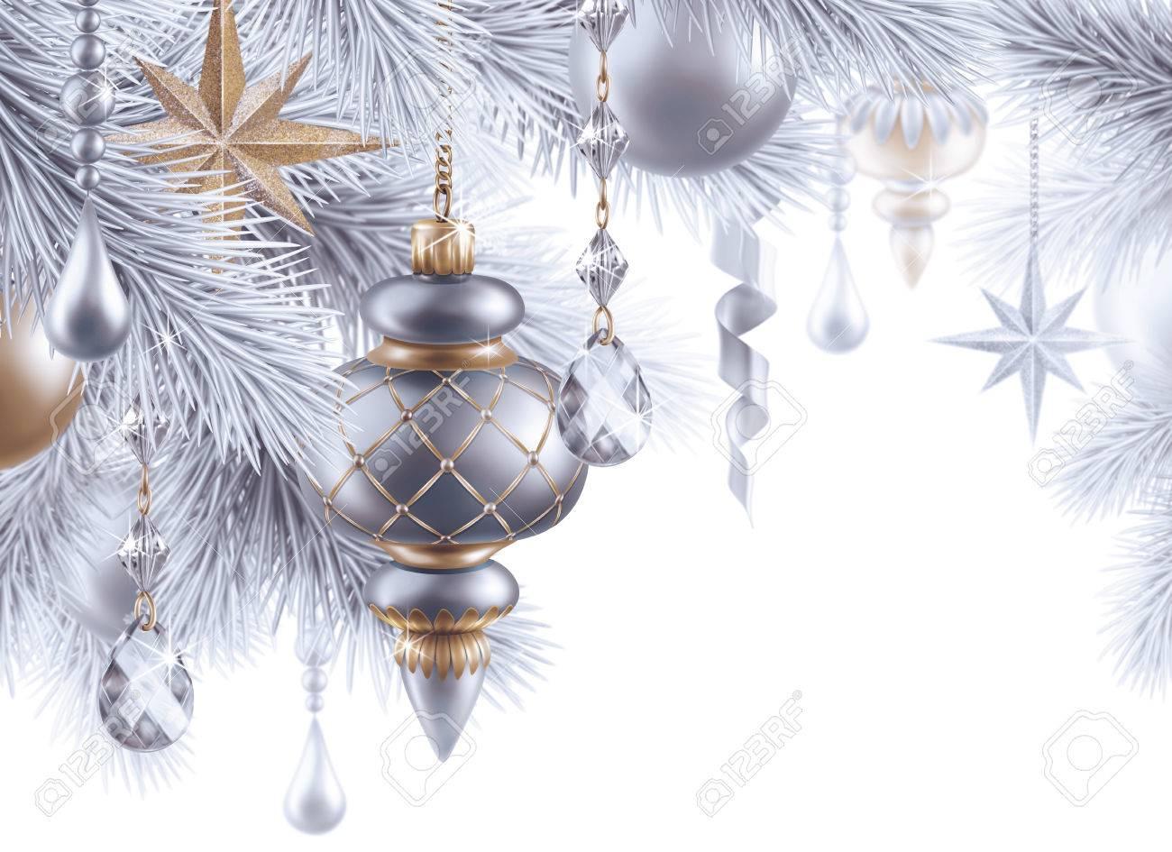 Digitale Illustration, Silber Christbaumschmuck, Weihnachten ...