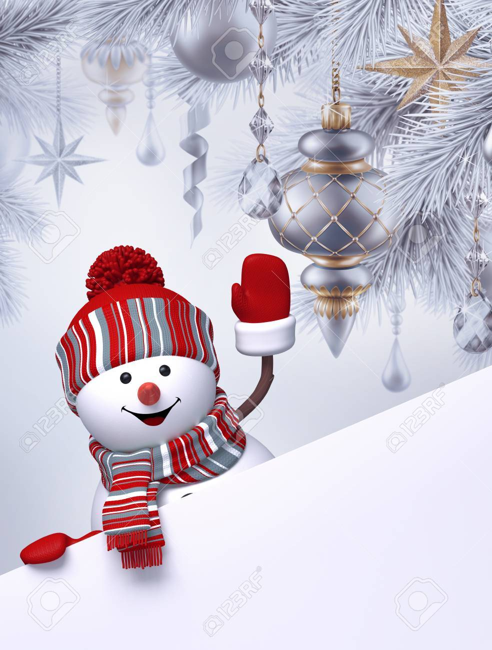 3d snowman christmas tree hanging ornaments greeting card template