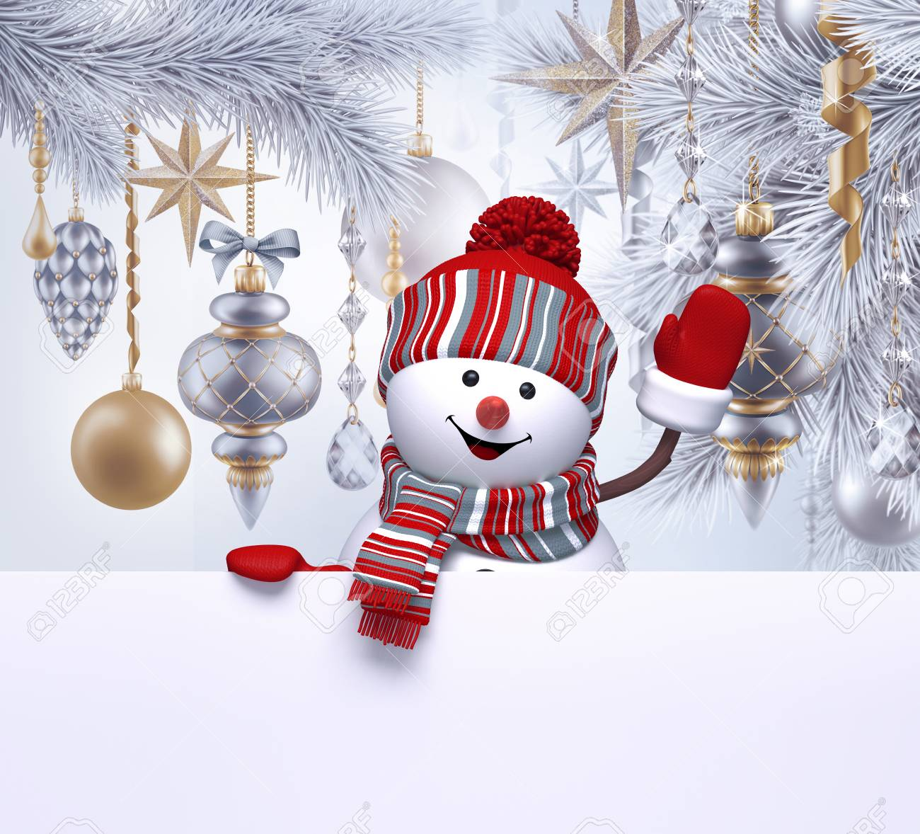 3d snowman waving hand christmas greeting card template blank 3d snowman waving hand christmas greeting card template blank banner holiday silver background m4hsunfo