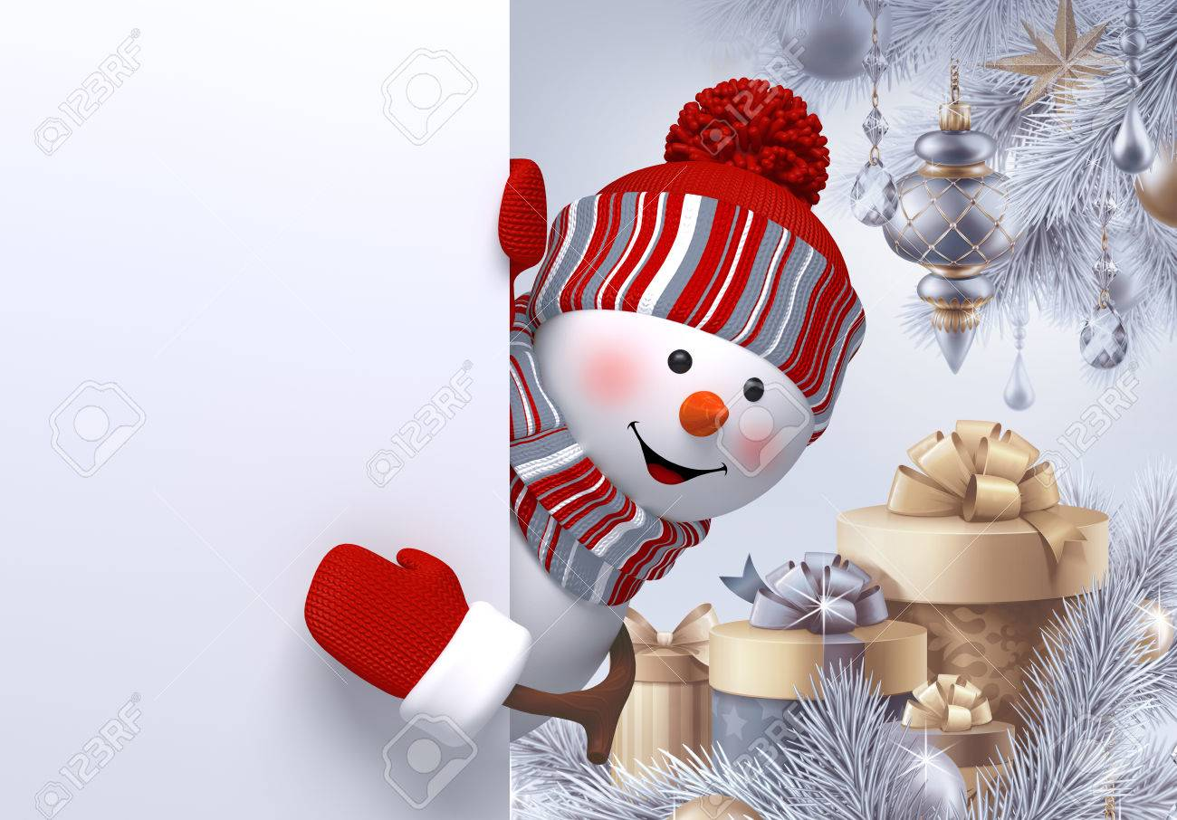 3d Snowman Gift Boxes Christmas Background New Year Greeting
