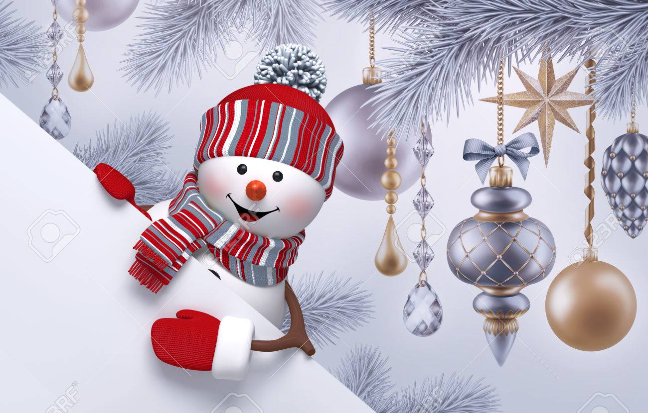 3d snowman christmas background new year greeting card fir 3d snowman christmas background new year greeting card fir tree ornaments blank kristyandbryce Image collections