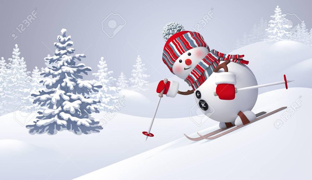 3d snowman skiing sliding downhill christmas new year clip art winter nature