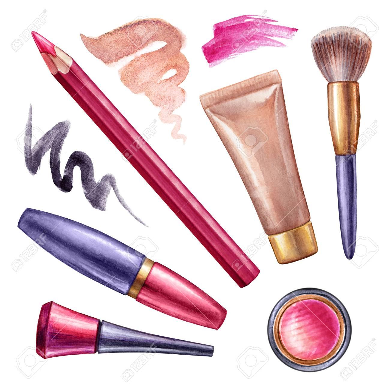 watercolor illustration make up clip art cosmetics design stock rh 123rf com makeup clip art cosmetics transparent makeup clip art free