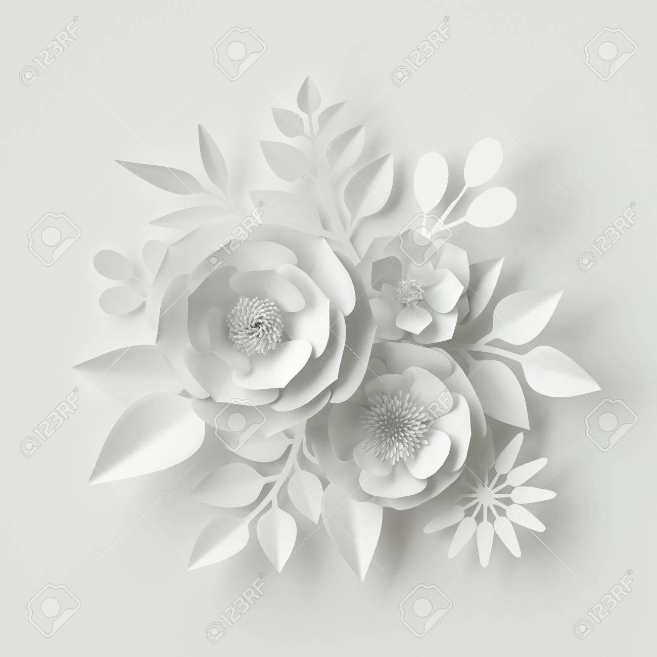 3d Render Digital Illustration White Paper Flowers Floral Stock