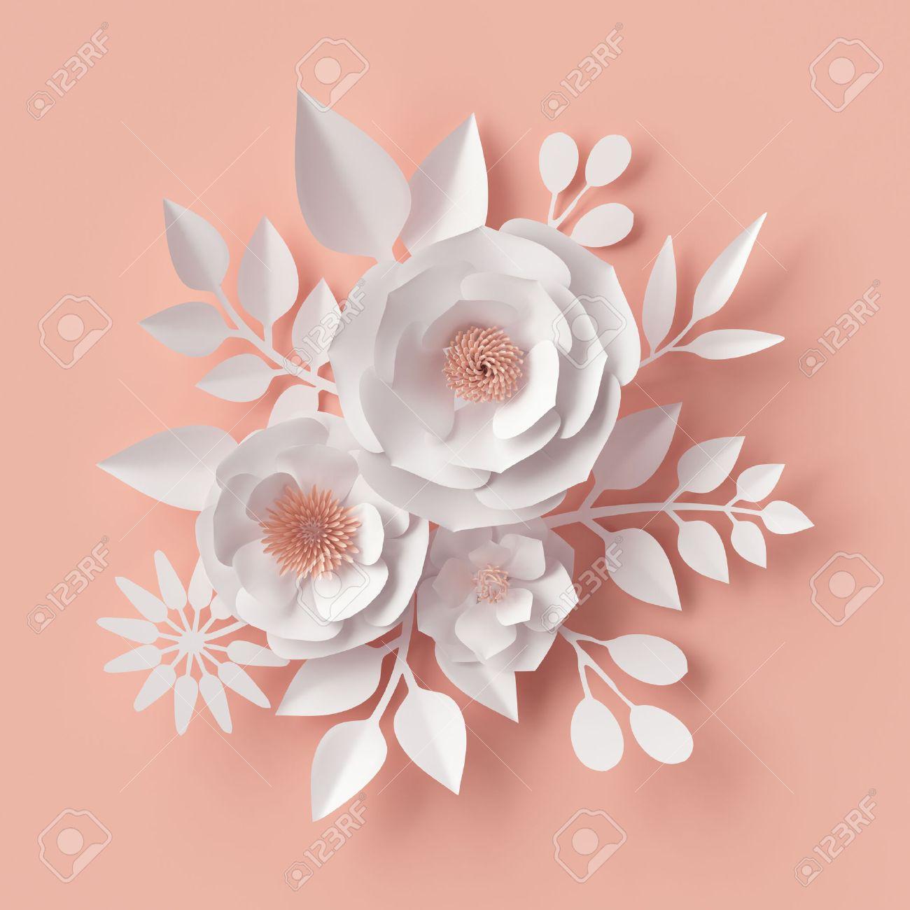 3d Render, Illustration Numérique, Fleurs En Papier Blanc, Fard à Joues  Rose Décoration